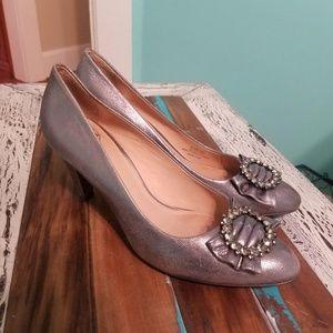 Nurture Julee Silver Leather Comfortable Heels